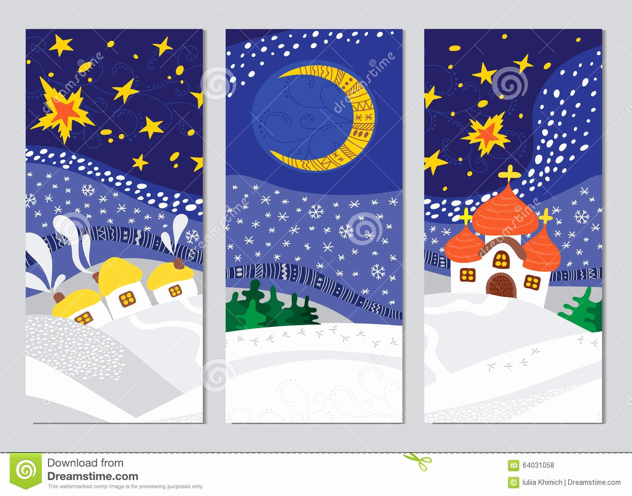Vertical Postcard Template Fresh Set Christmas Night Landscape Cards Stock Vector