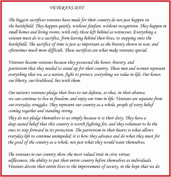 Veterans Day Essay Examples Best Of Short Essay Speech On Veterans Day for School Students In