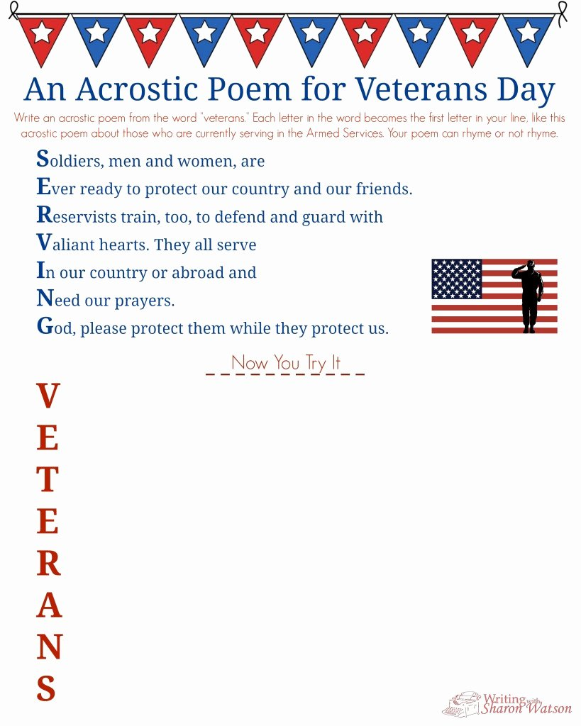 Veterans Day Essays Examples Best Of Veterans Day Acrostic Poem Middle School Writing Prompt