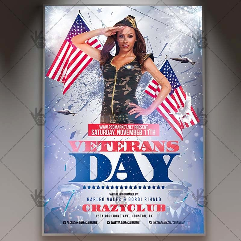 Veterans Day Flyer Templates Free Beautiful Veterans Day American Flyer Psd Template 4thofjuly