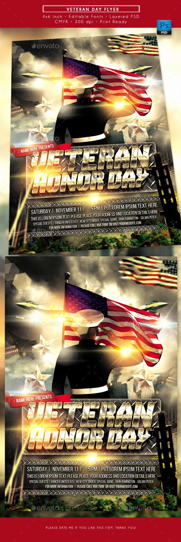 Veterans Day Flyer Templates Free Beautiful Veterans Day Flyer by Rudydesign