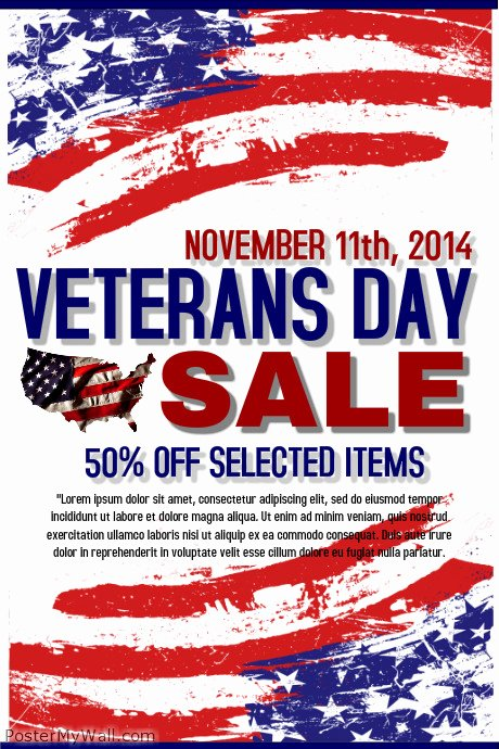 Veterans Day Flyer Templates Free Beautiful Veterans Day Retail Template
