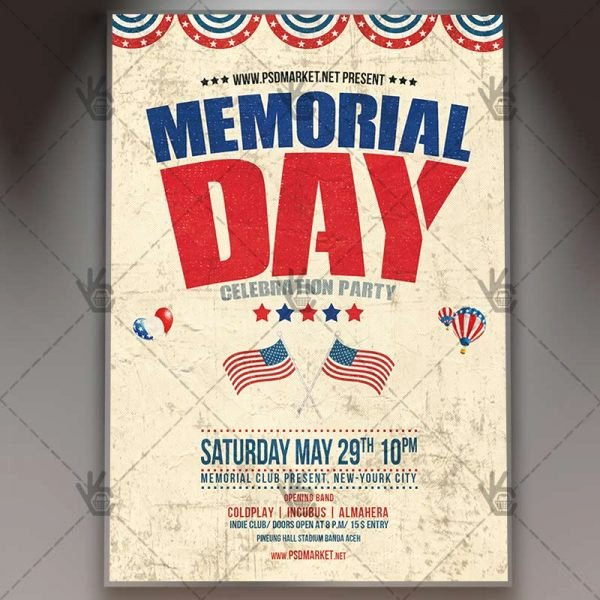 Veterans Day Flyer Templates Free Elegant Memorial Day Premium Flyer Psd Template