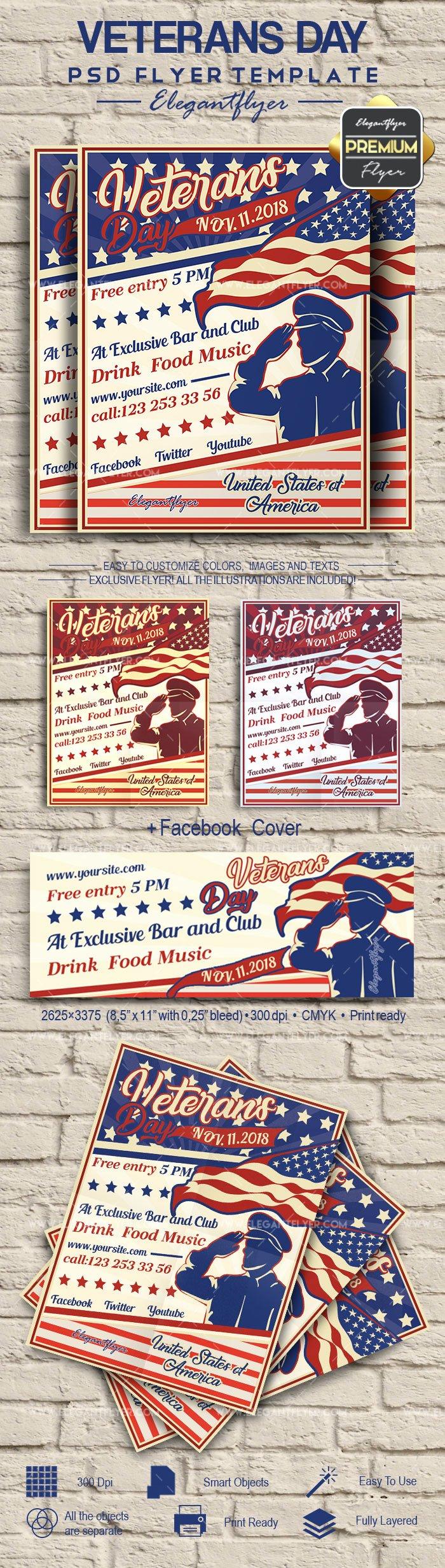 Veterans Day Flyer Templates Free Luxury Veterans Day Psd Poster – by Elegantflyer