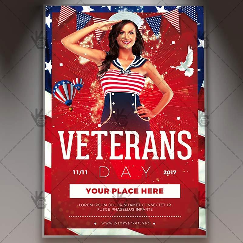 Veterans Day Flyer Templates Free Unique Happy Veterans Day American Flyer Psd Template