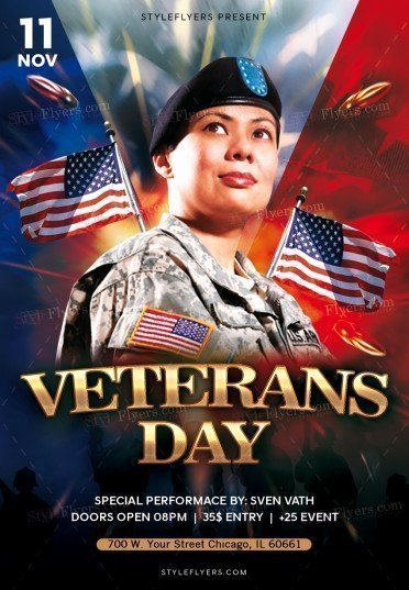 Veterans Day Flyer Templates Free Unique Veterans Day Psd Flyer Template Styleflyers