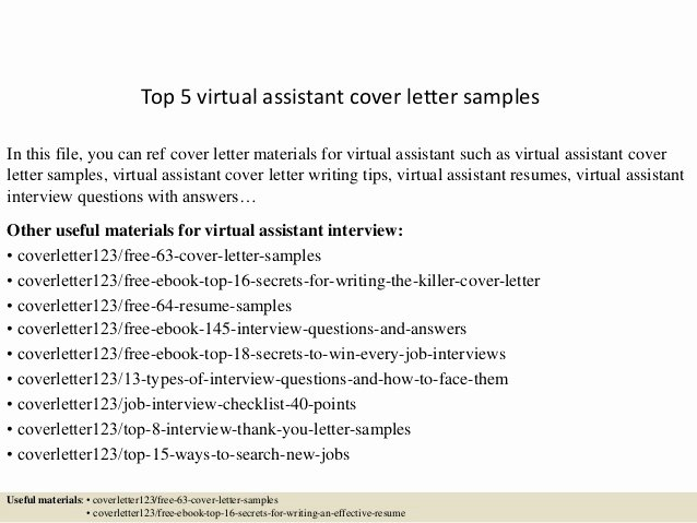 Virtual assistant Cover Letter Inspirational top 5 Virtual assistant Cover Letter Samples