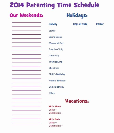 Visitation Schedule Template Awesome Custody Parentingtime Jointcustody Parenting Schedule