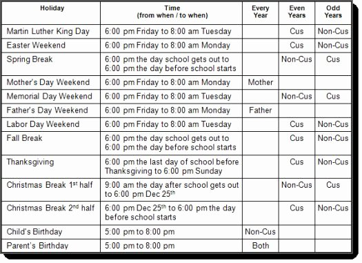 Visitation Schedule Template Awesome Standard Nevada Holiday Visitation Schedule
