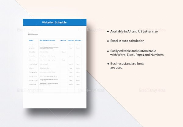 Visitation Schedule Template Awesome Visitation Schedule Template 13 Free Word Excel Pdf