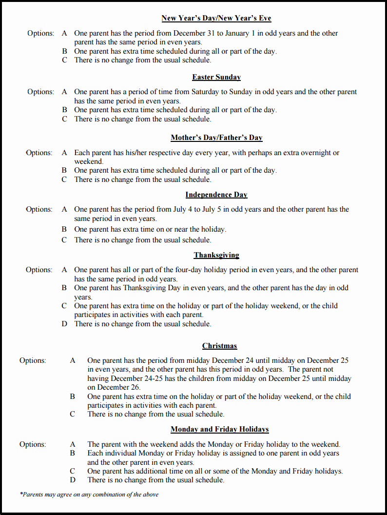 Visitation Schedule Template Elegant Sample Schedules for Splitting the Holidays During A Ca
