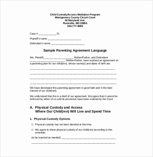 Visitation Schedule Template Fresh Child Custody and Visitation Agreement Template