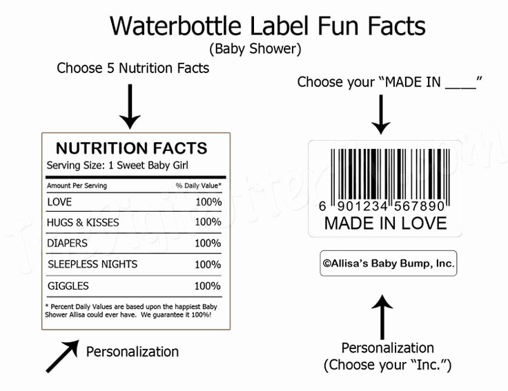 Vitamin Water Label Template Fresh Personalized Water Bottle Labels for Baby Shower