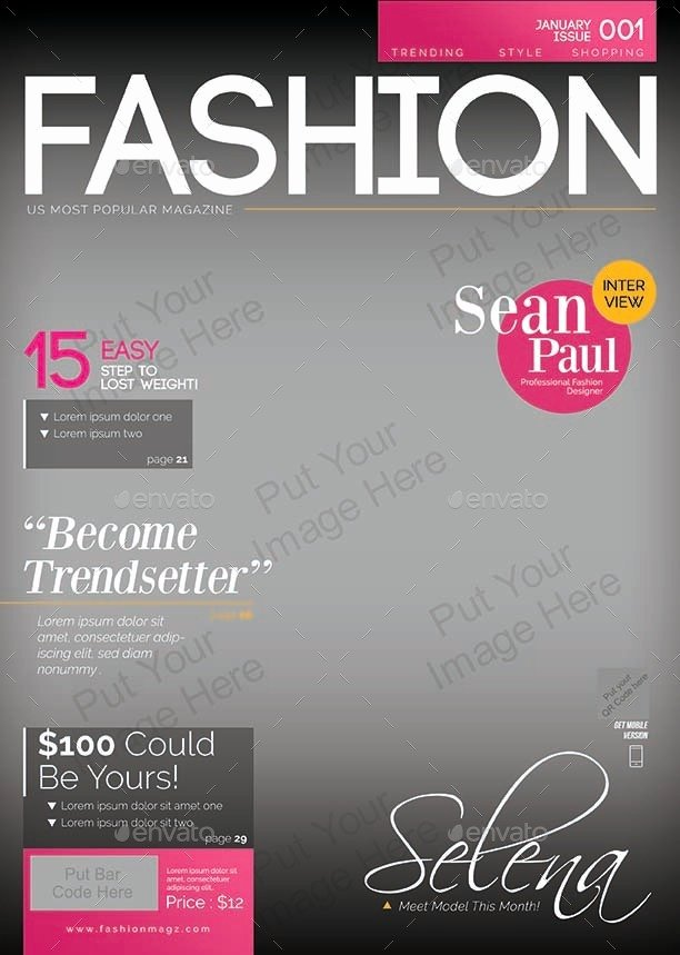 Vogue Magazine Cover Template Lovely Magazine Cover Template