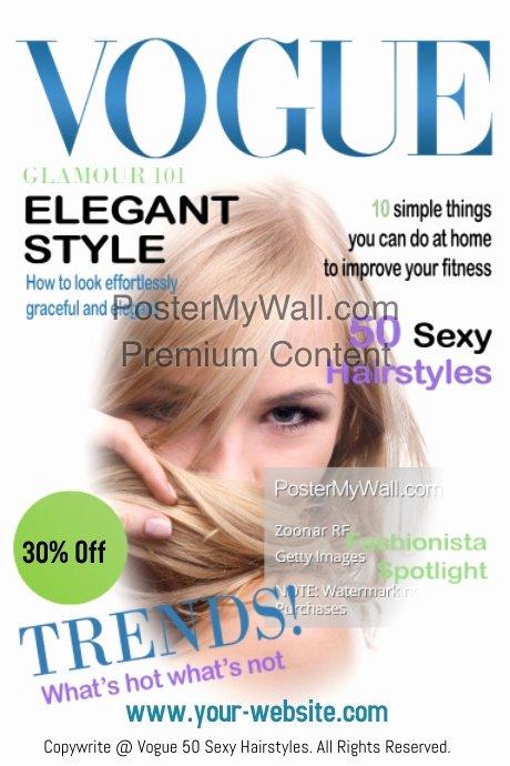 Vogue Magazine Cover Template Unique Vogue 50 Hairstyles Magazine Cover Template