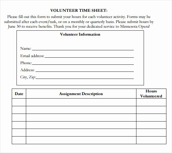 Volunteer Hour Log Template Awesome Volunteer Hour forms Template