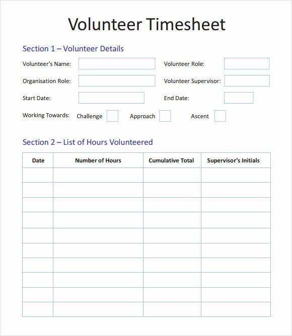 Volunteer Hour Log Template Fresh 15 Sample Volunteer Timesheet Templates – Pdf Word