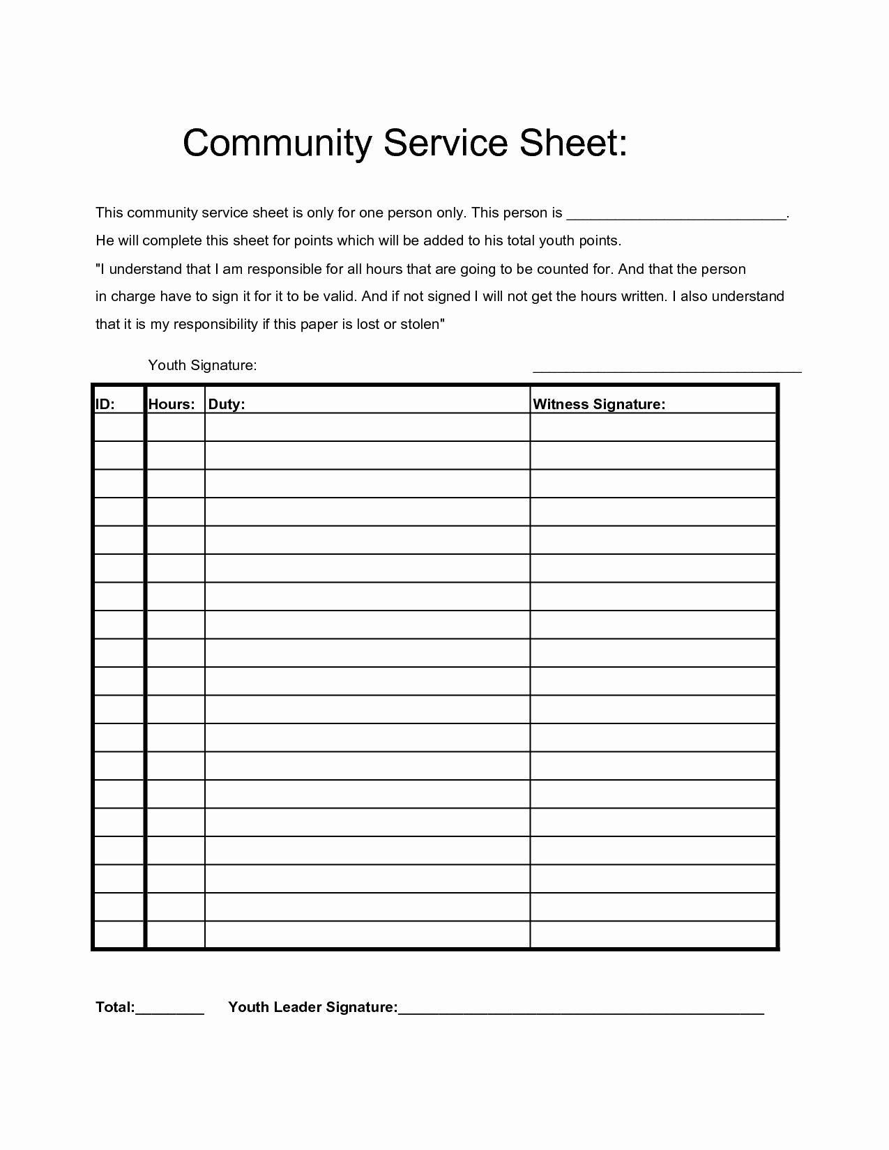 Volunteer Hour Log Template Fresh Munity Service Hours Sheet