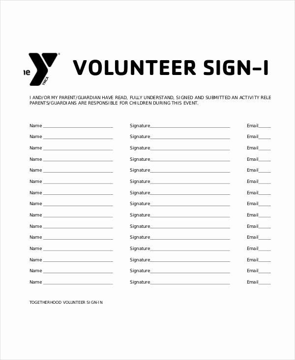 Volunteer Hour Log Template Fresh Volunteer Sign In Sheet Templates 14 Free Pdf Documents