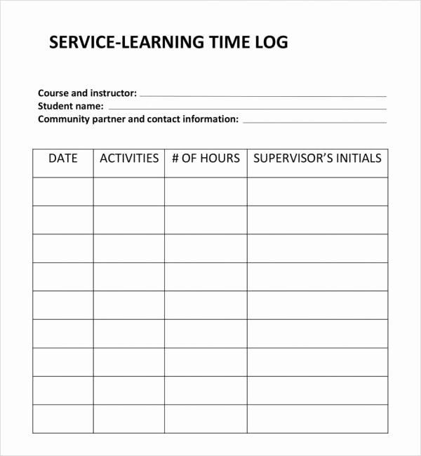 Volunteer Hour Log Template Unique 24 Of Hourly Time Log Spreadsheet Template