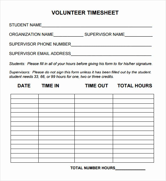 Volunteer Hours Log Template New Sample Volunteer Timesheet 10 Example format