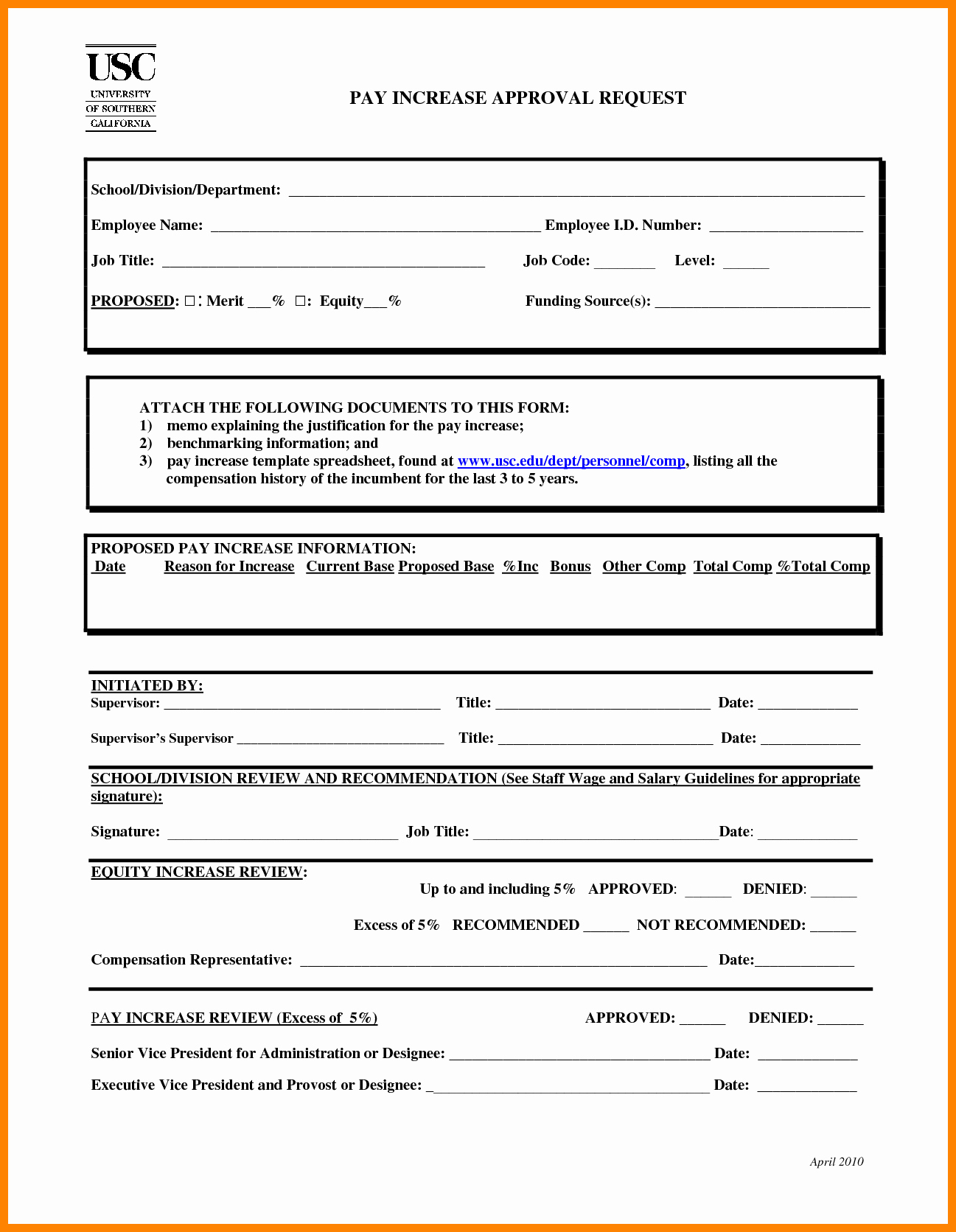 Wage Increase form Beautiful 7 Salary Change form Template