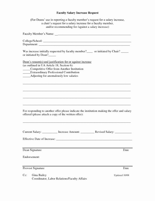 Wage Increase form Best Of Printable Faculty Salary Adjustment Pay form by Stariya
