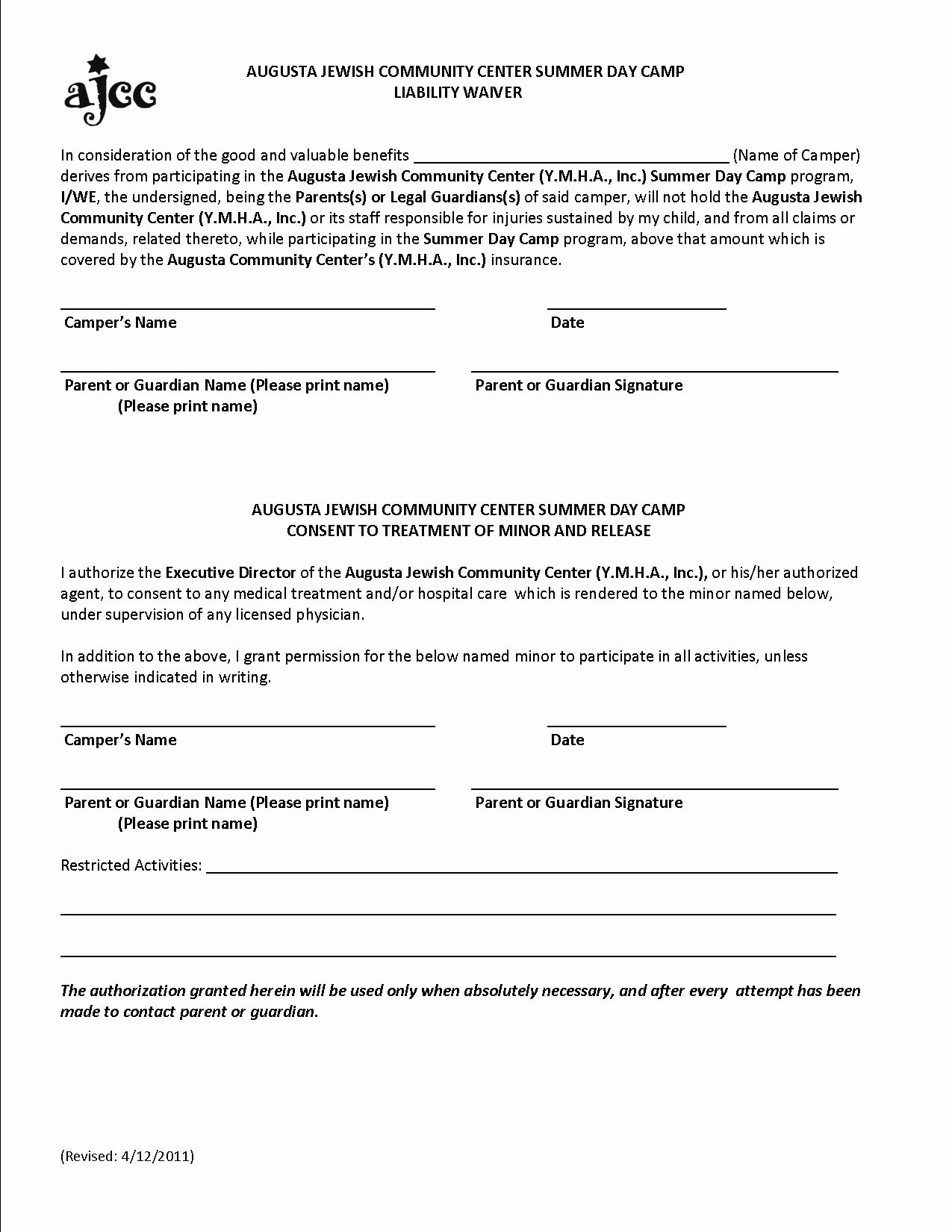 Waiver Template Word Lovely Free Printable Liability form form Generic