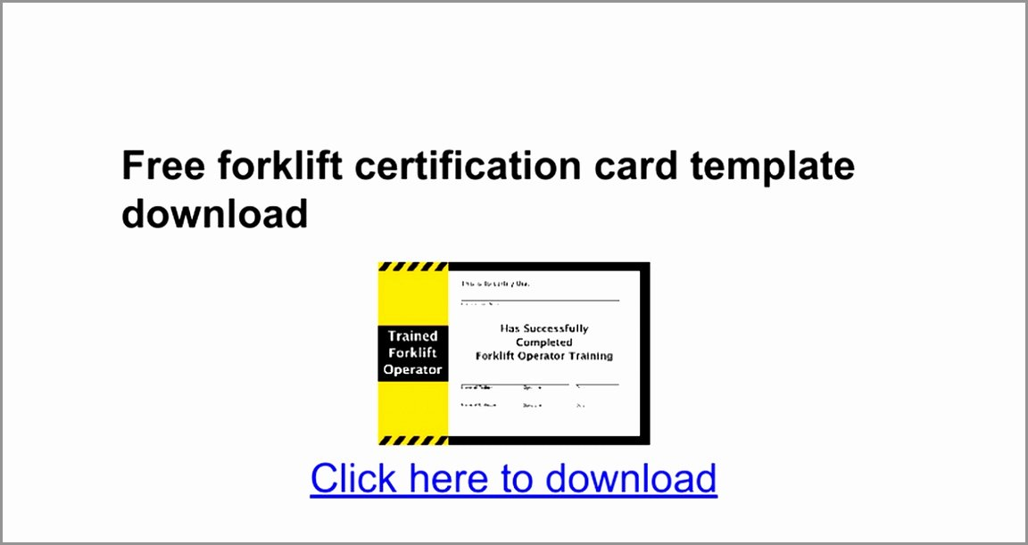 Wallet Card Template Excel Elegant 7 forklift Certification Card Template Taiyy