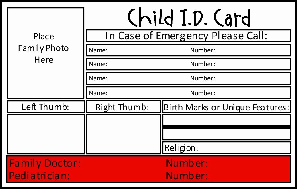 Wallet Card Template Free Inspirational Child Id Card Template Invitation Template