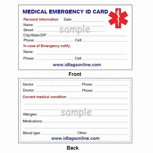 Wallet Card Template Free Luxury Medical Emergency Wallet Card for Medical Alert Id