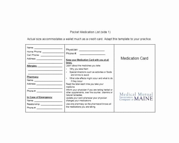 Wallet Card Template Word Awesome 58 Medication List Templates for Any Patient [word Excel