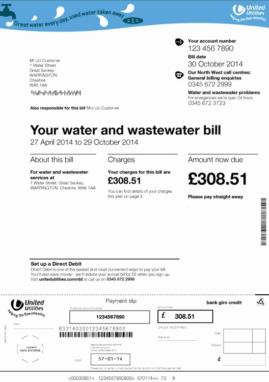 Water Bill Template Elegant Water Bill Template Rusinfobiz