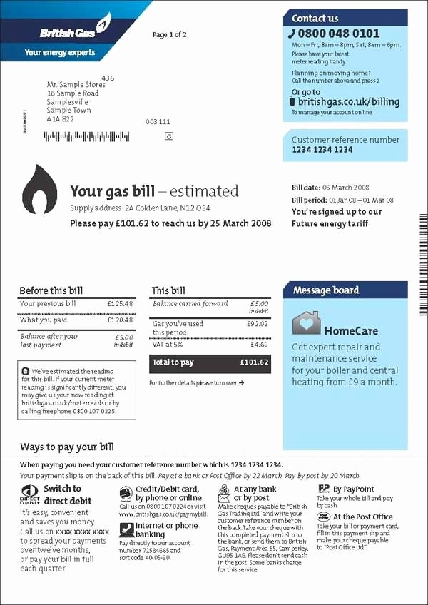 Water Bill Template Lovely British Gas Customer Bills and Statements by Lucy Hamlet