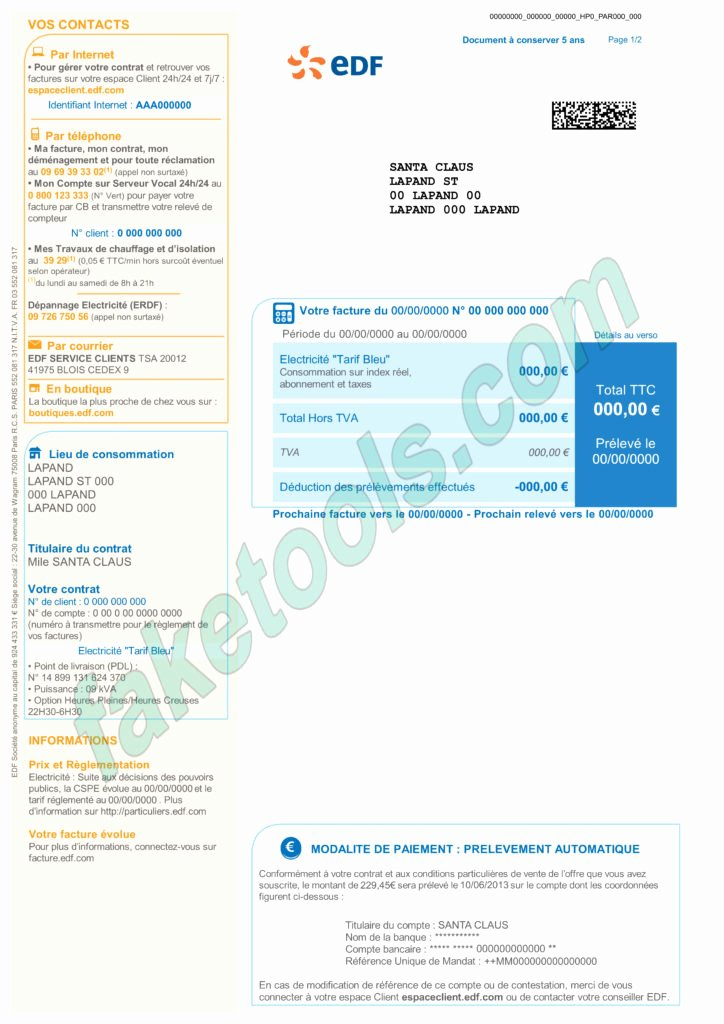 Water Bill Template Unique France Utility Bill Psd Template Fake Id Template