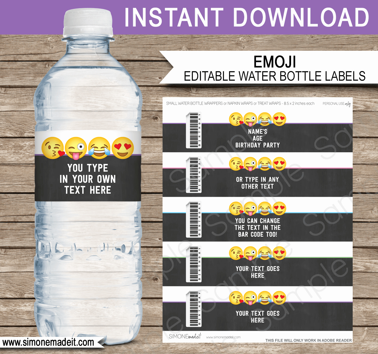 Water Bottle Templates Free Fresh Emoji theme Birthday Party Printables