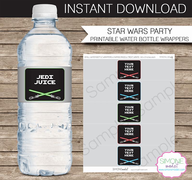 Water Bottle Templates Free Luxury Star Wars Party Water Bottle Labels