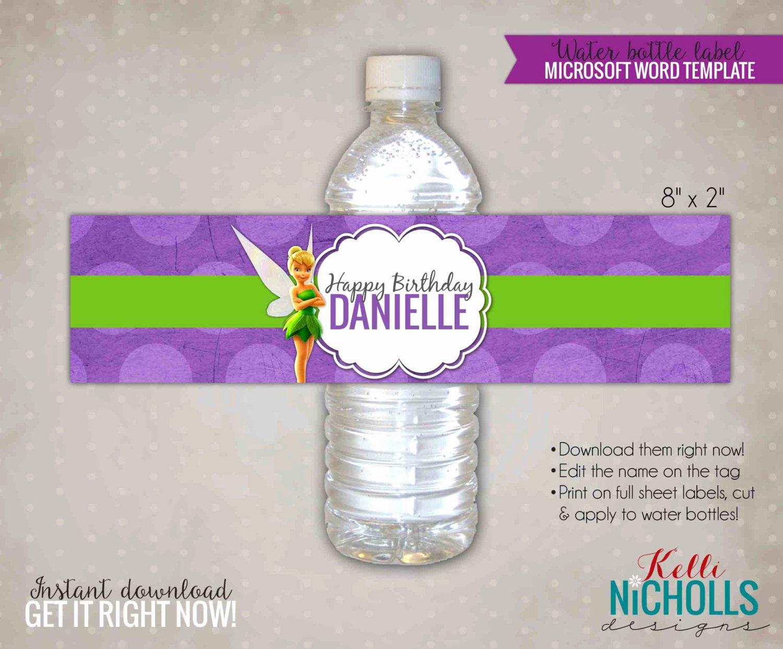 Water Bottle Templates Free New Tinkerbell Water Bottle Label Template by Kellinichollsdesigns