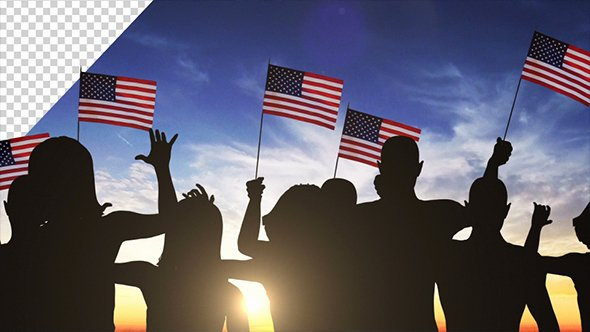 Waving Flag after Effects Awesome Group Of People Waving American Flags at Sunset 2 Pack
