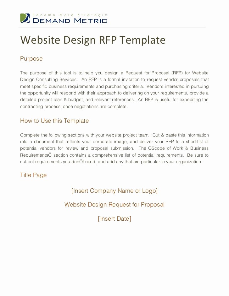 Web Design Proposal Sample Doc Awesome Website Design Rfp Template