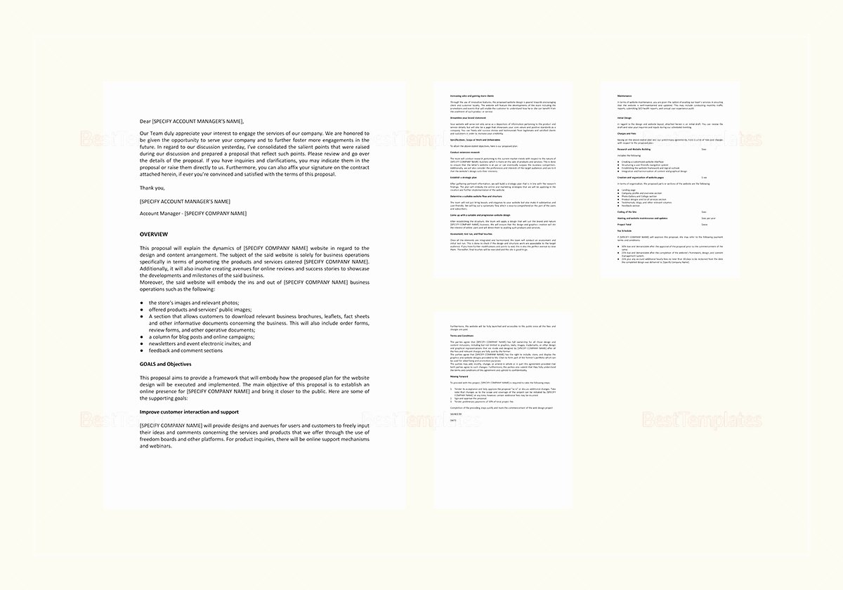 Web Design Proposal Sample Doc New Website Design Proposal Template In Word Google Docs
