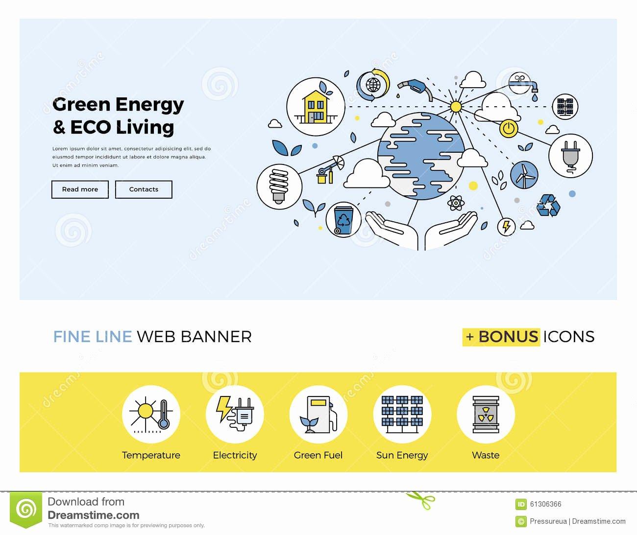 Website Content Outline Template Elegant Green Energy Flat Line Banner Stock Vector Image