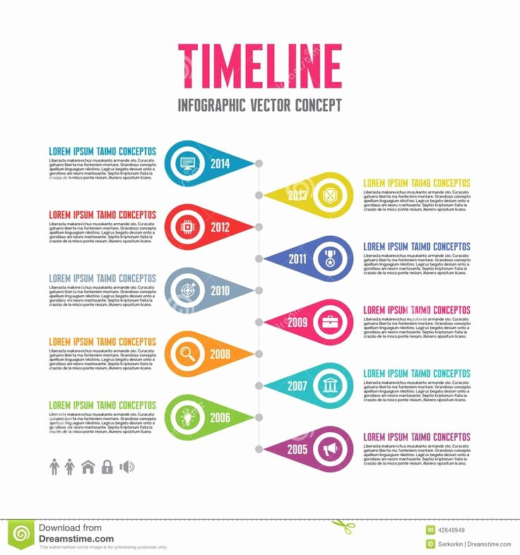 Website Development Timeline Template Elegant Infographic Vector Concept In Flat Design Style Timeline