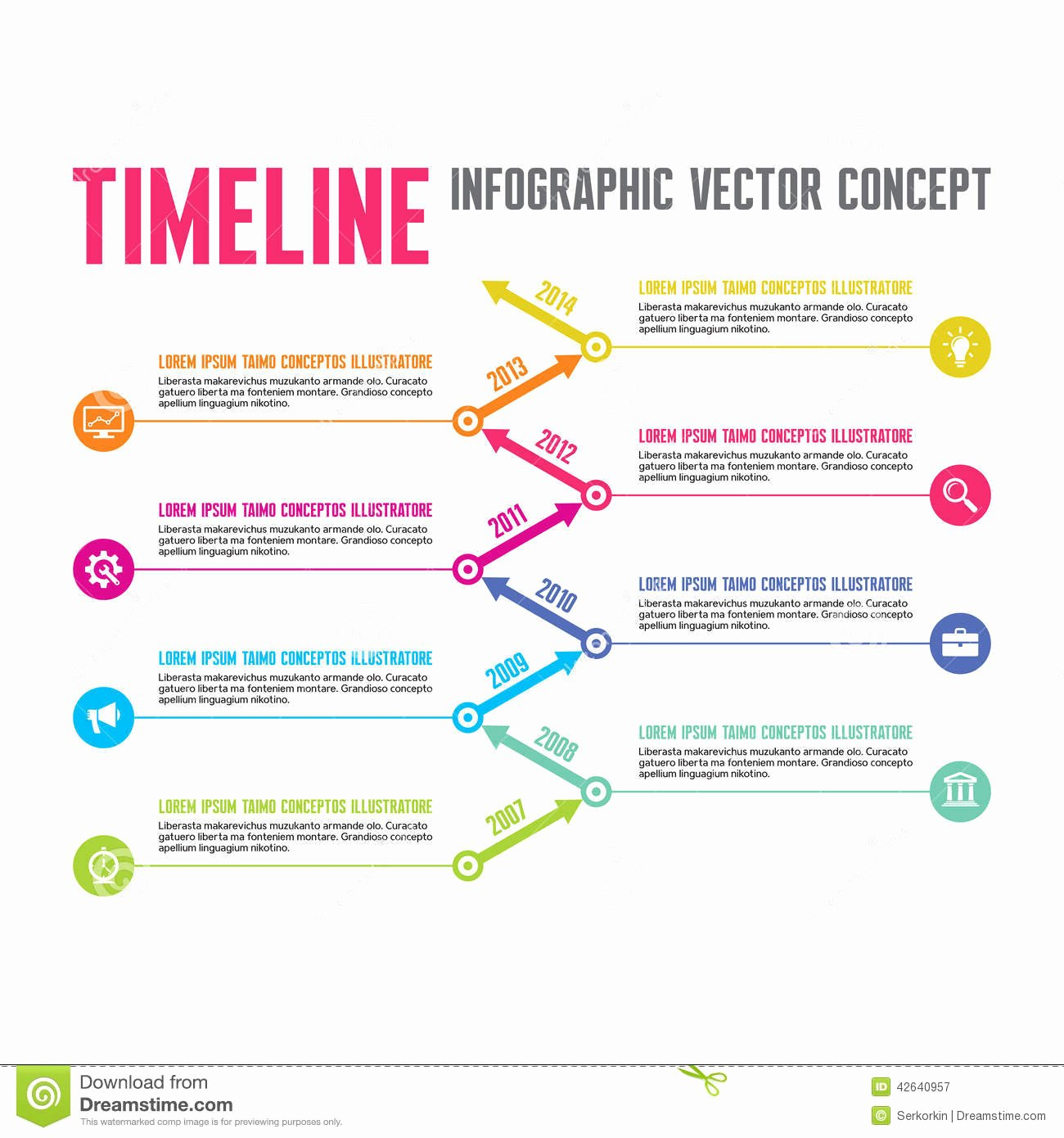 Website Development Timeline Template Unique Infographic Vector Concept In Flat Design Style Timeline