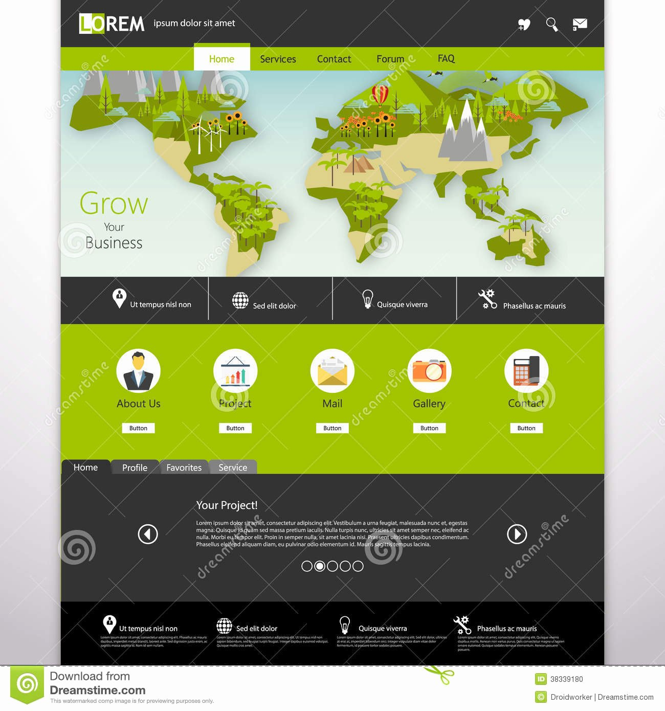 Website Map Template New Modern Eco Website Template with Flat Eco Earth Map