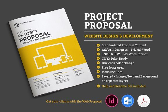 Website Proposal Template Word Inspirational Project Proposal Stationery Templates On Creative Market
