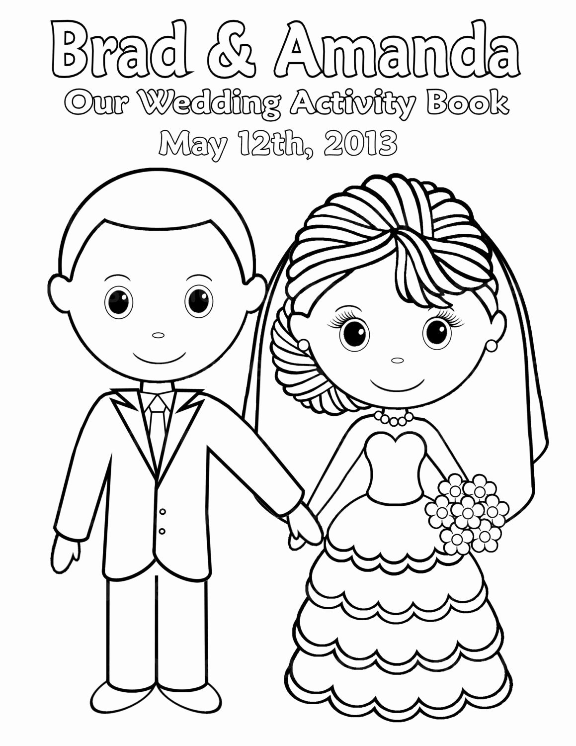 Wedding Coloring Book Templates Unique Printable Personalized Wedding Coloring Activity Book