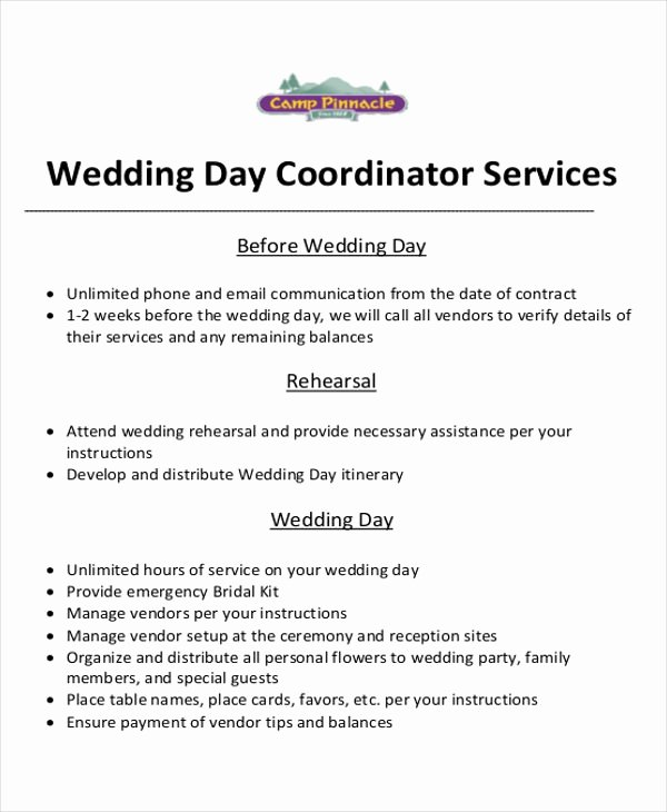 Wedding Coordinator Contract Fresh event Planner Contract Sample 6 Examples In Word Pdf