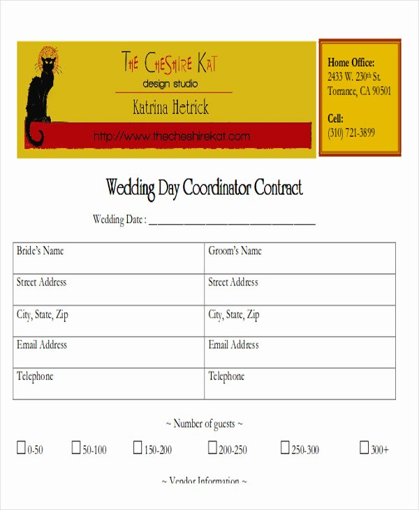 Wedding Coordinator Contract Luxury Sample Wedding Contract Agreements 9 Examples In Word Pdf