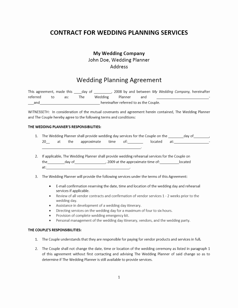 Wedding Coordinator Contract Unique Agreement Word Templates Free Word Templates
